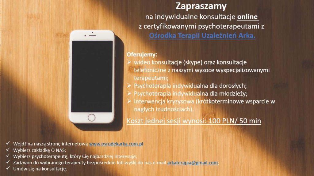 Indywidualne konsultacje online ze specjalistami od leczenia uzależnień - Ośrodek Arka